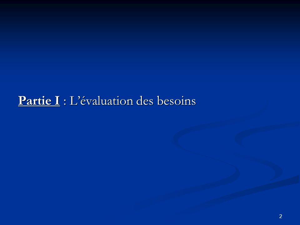 Partie I : L'évaluation des besoins
