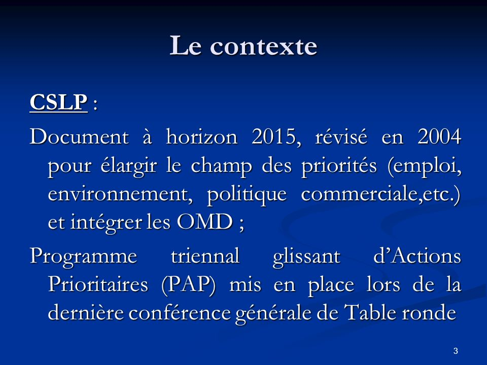 Le contexte CSLP :
