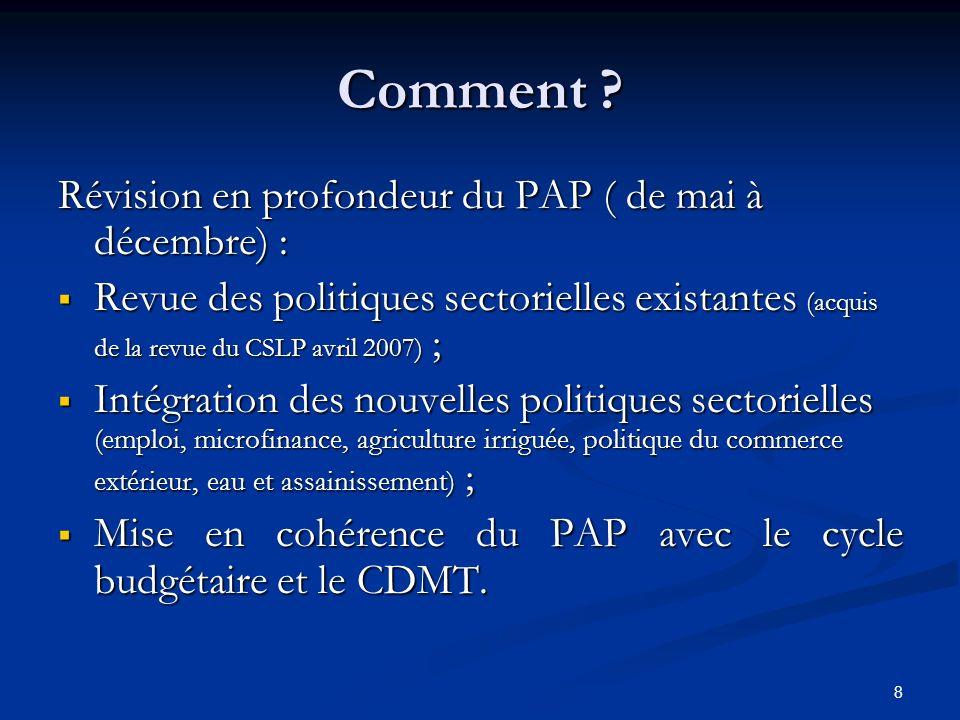 Comment Révision en profondeur du PAP ( de mai à décembre) :