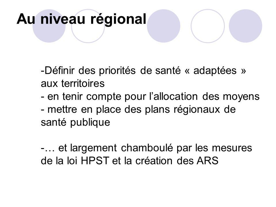 Au niveau régional Définir des priorités de santé « adaptées » aux territoires. en tenir compte pour l'allocation des moyens.