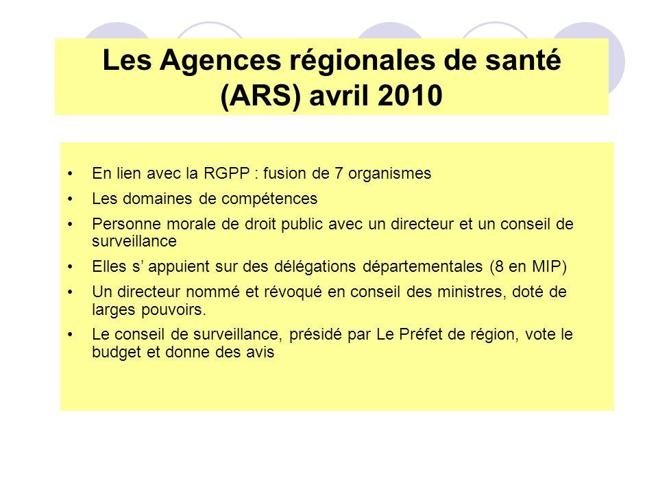 Les Agences régionales de santé (ARS) avril 2010