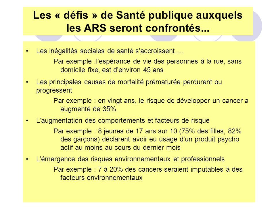 Les « défis » de Santé publique auxquels les ARS seront confrontés...
