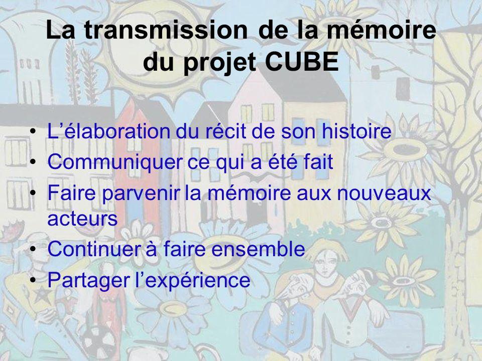 La transmission de la mémoire du projet CUBE