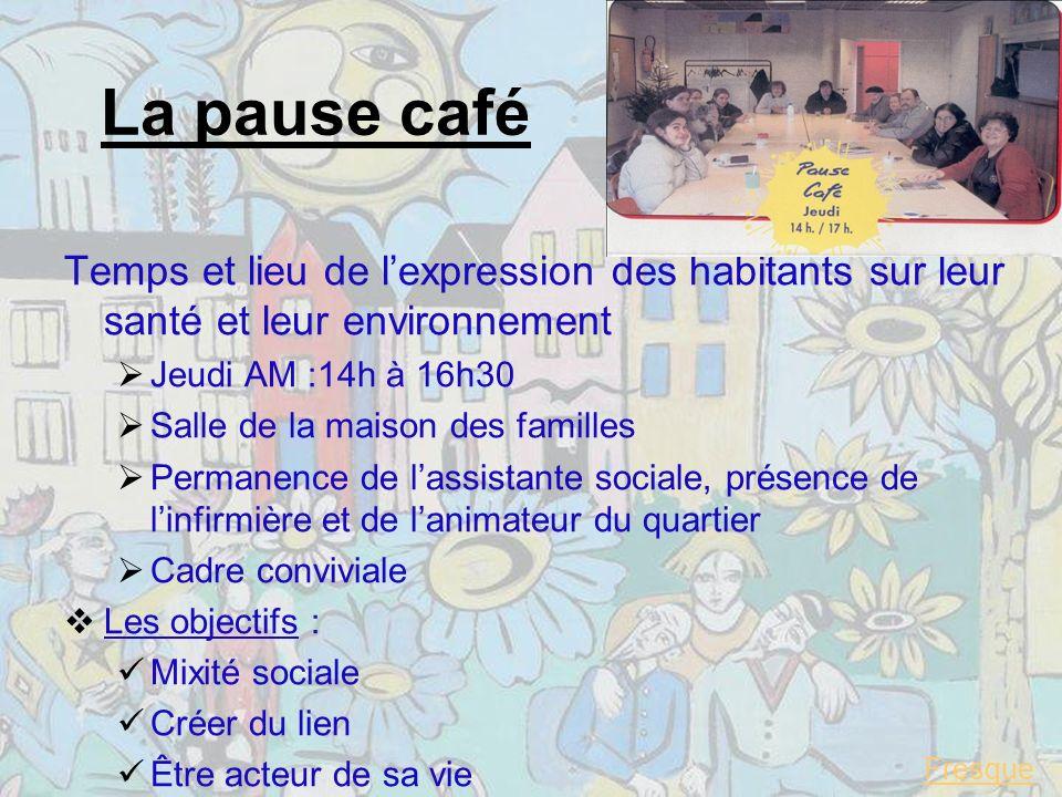 La pause café Temps et lieu de l'expression des habitants sur leur santé et leur environnement. Jeudi AM :14h à 16h30.