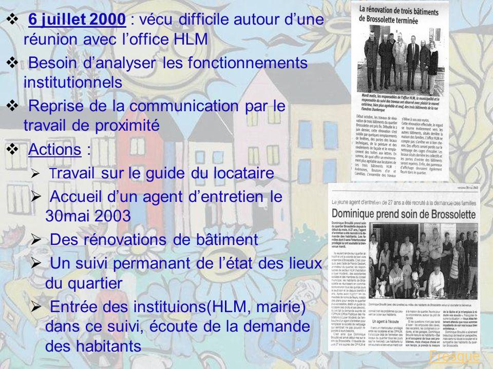 6 juillet 2000 : vécu difficile autour d'une réunion avec l'office HLM