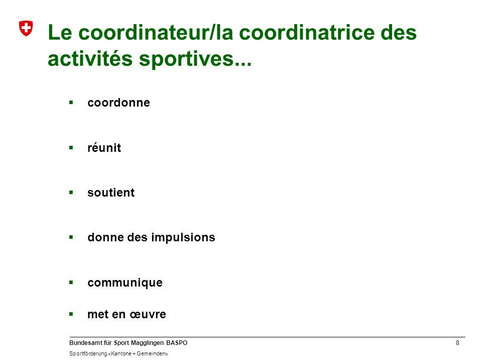 Le coordinateur/la coordinatrice des activités sportives...