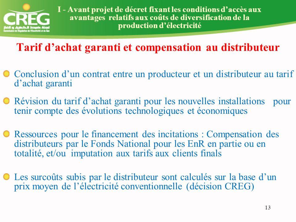 Tarif d'achat garanti et compensation au distributeur
