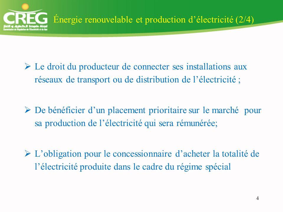 Énergie renouvelable et production d'électricité (2/4)
