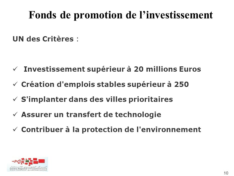 Fonds de promotion de l'investissement