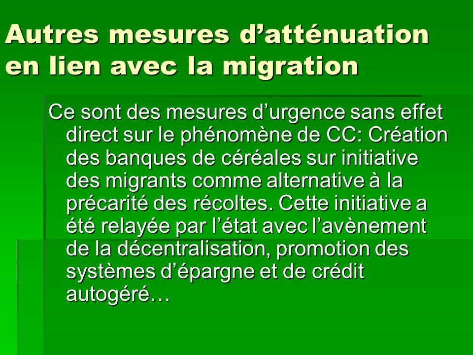 Autres mesures d'atténuation en lien avec la migration