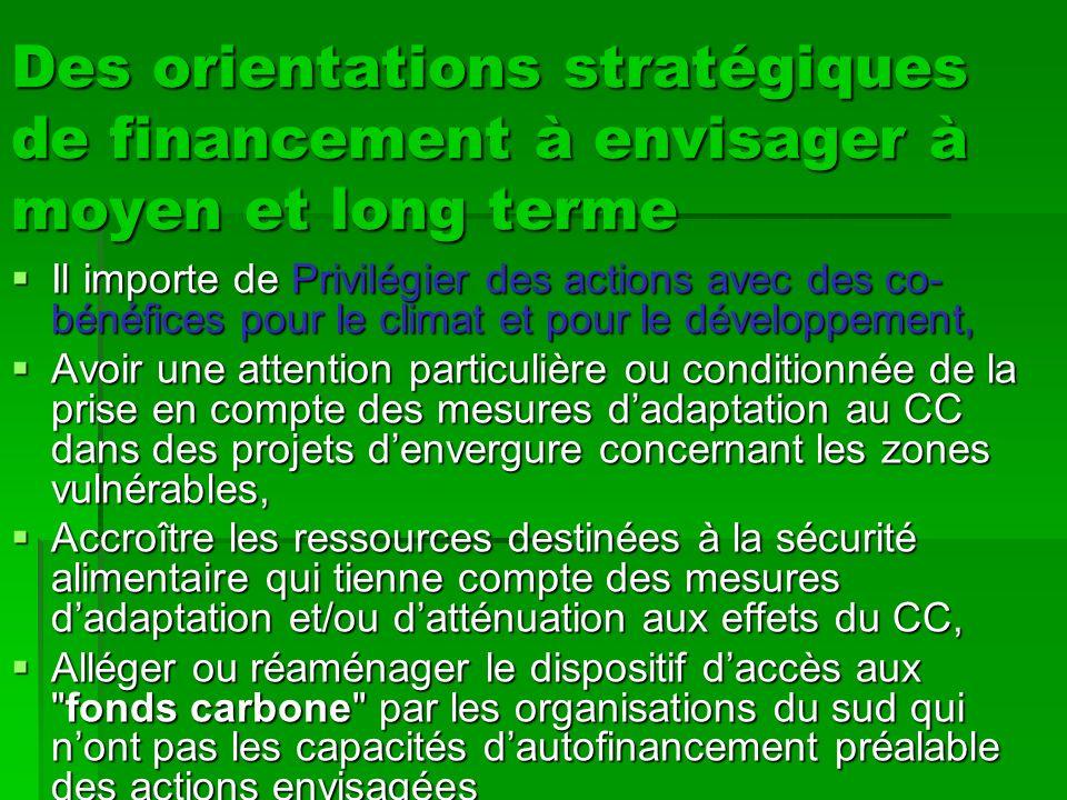 Des orientations stratégiques de financement à envisager à moyen et long terme