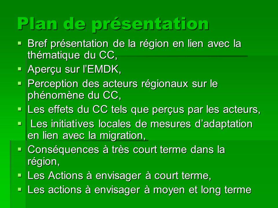 Plan de présentation Bref présentation de la région en lien avec la thématique du CC, Aperçu sur l'EMDK,