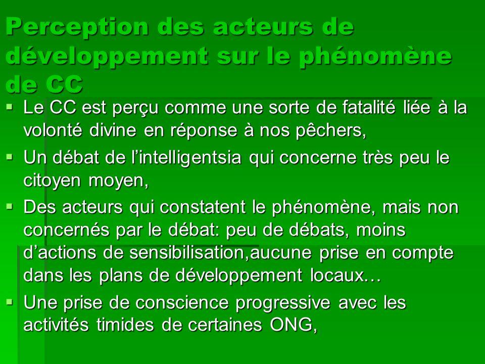 Perception des acteurs de développement sur le phénomène de CC