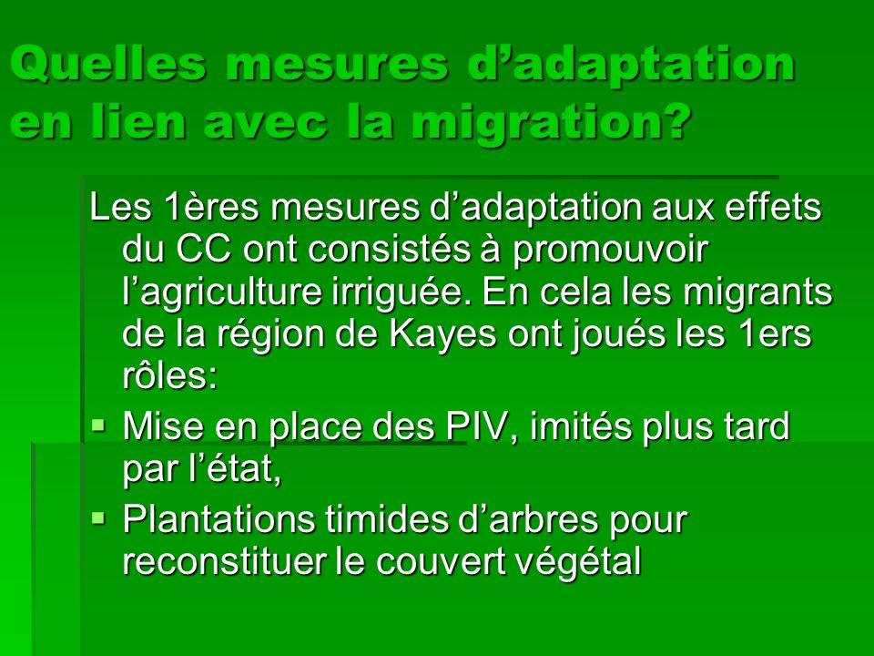 Quelles mesures d'adaptation en lien avec la migration