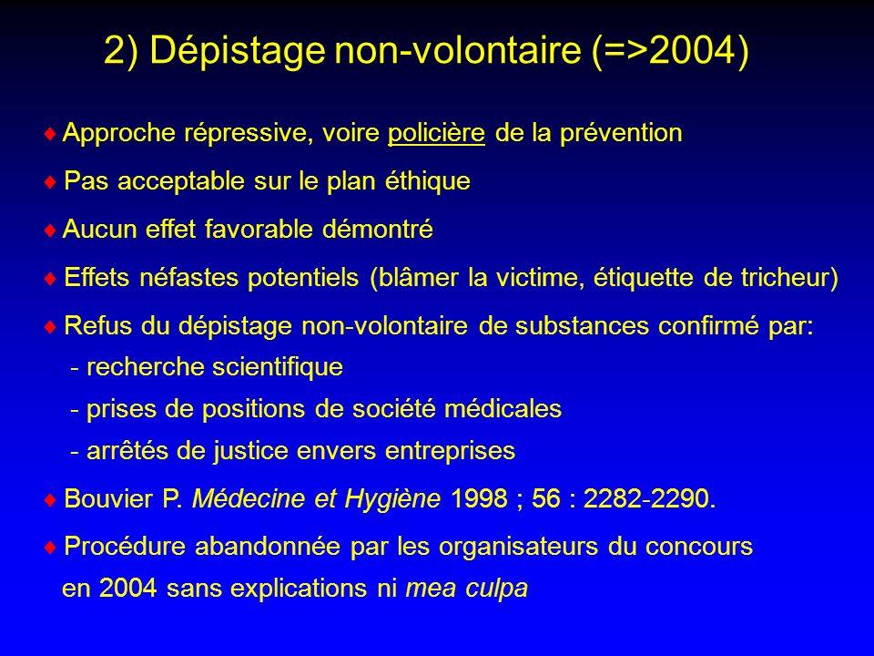 2) Dépistage non-volontaire (=>2004)