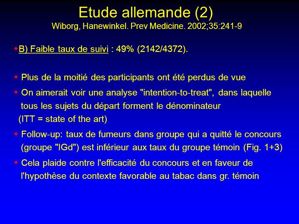 Etude allemande (2) Wiborg, Hanewinkel. Prev Medicine. 2002;35:241-9