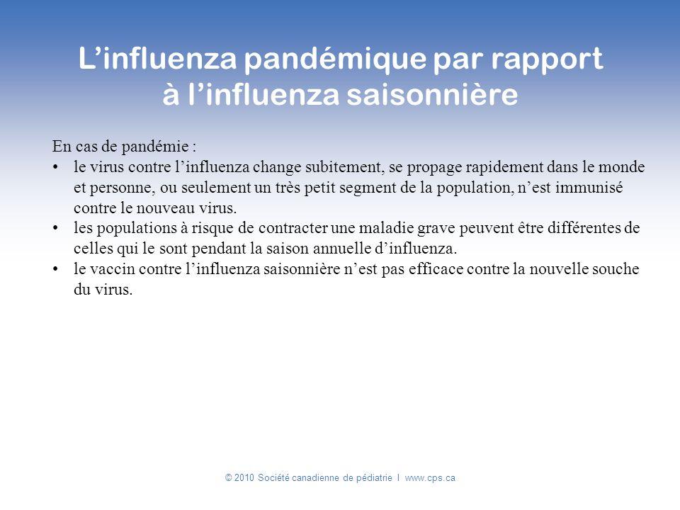 L'influenza pandémique par rapport à l'influenza saisonnière