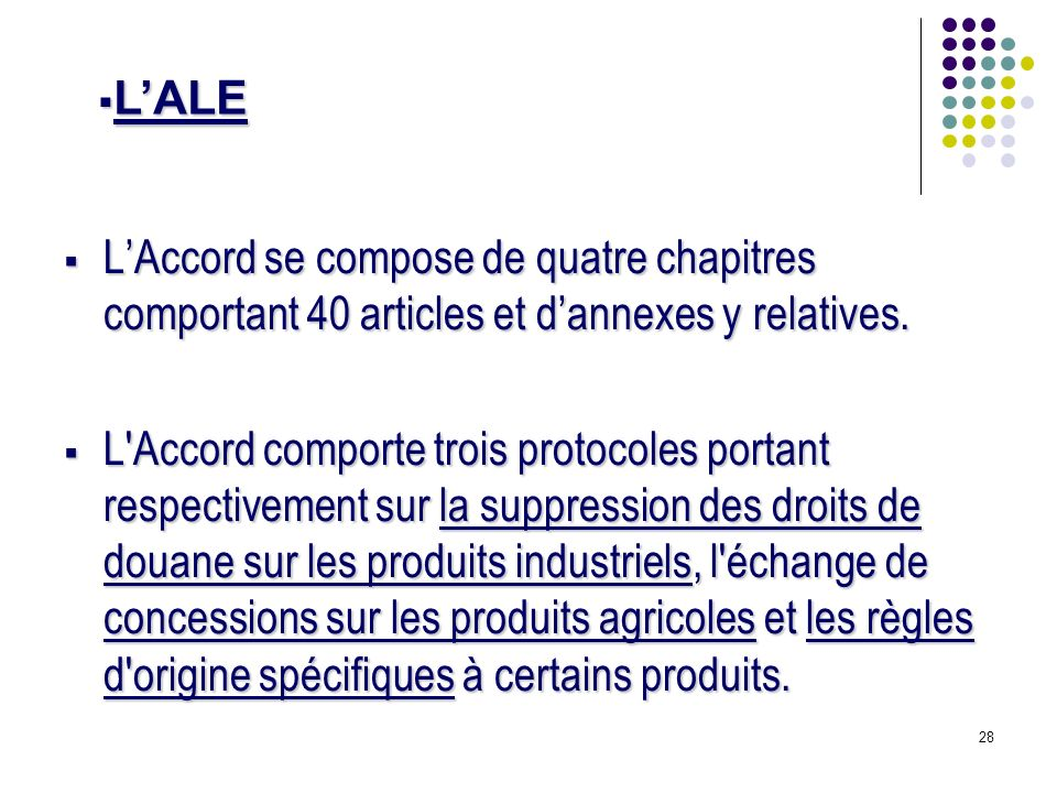 L'ALE L'Accord se compose de quatre chapitres comportant 40 articles et d'annexes y relatives.