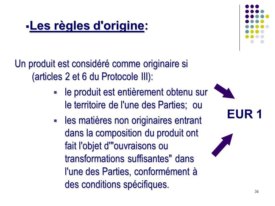Les règles d origine: EUR 1