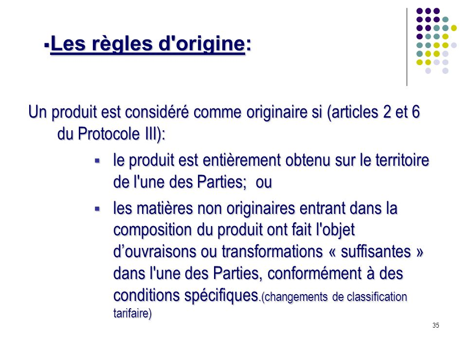 Les règles d origine: Un produit est considéré comme originaire si (articles 2 et 6 du Protocole III):