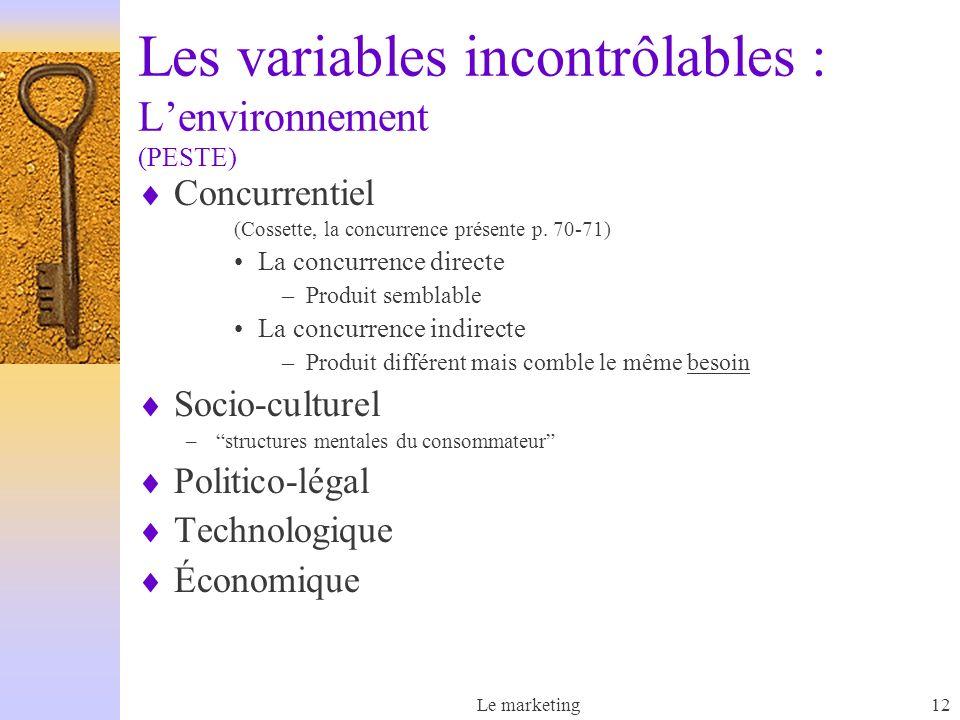 Les variables incontrôlables : L'environnement (PESTE)