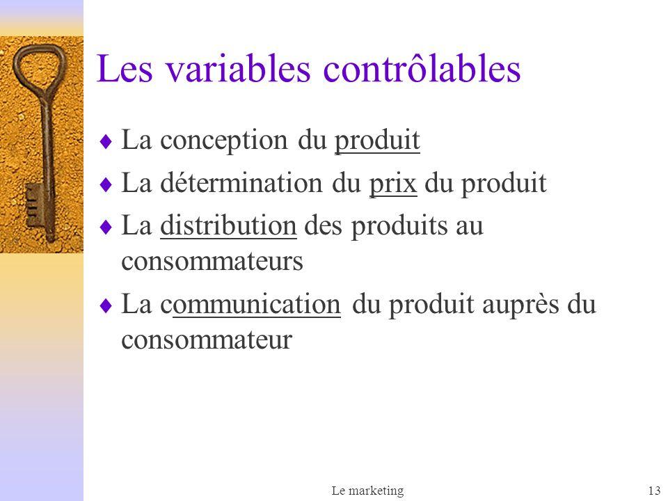 Les variables contrôlables