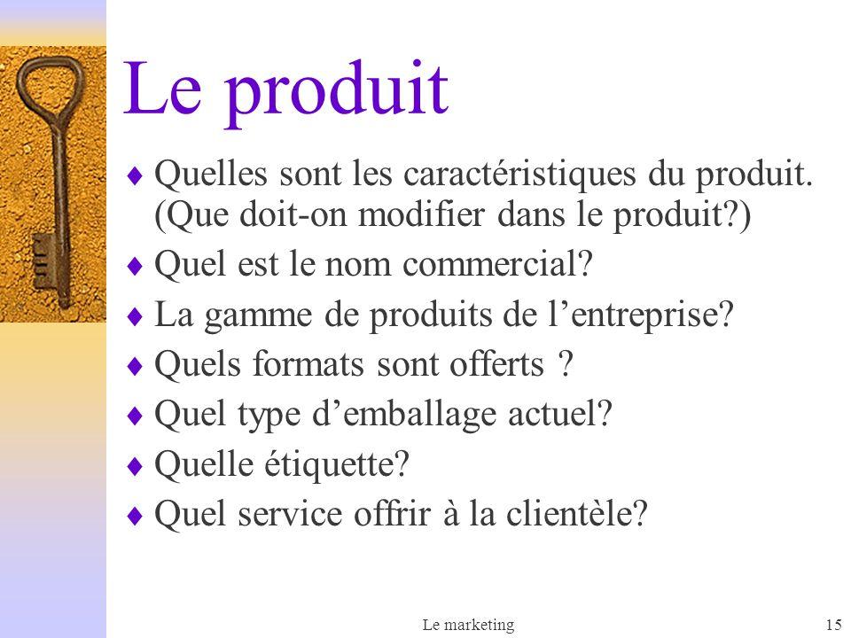 Le produit Quelles sont les caractéristiques du produit. (Que doit-on modifier dans le produit ) Quel est le nom commercial