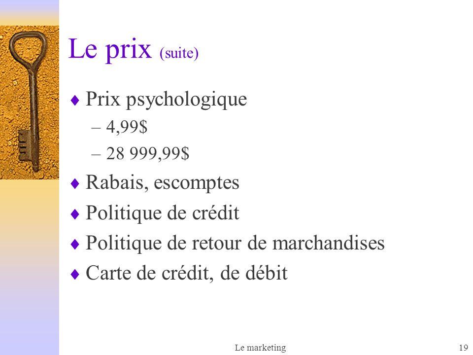Le prix (suite) Prix psychologique Rabais, escomptes