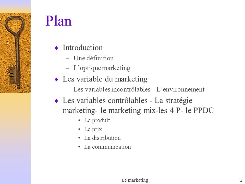 Plan Introduction Les variable du marketing