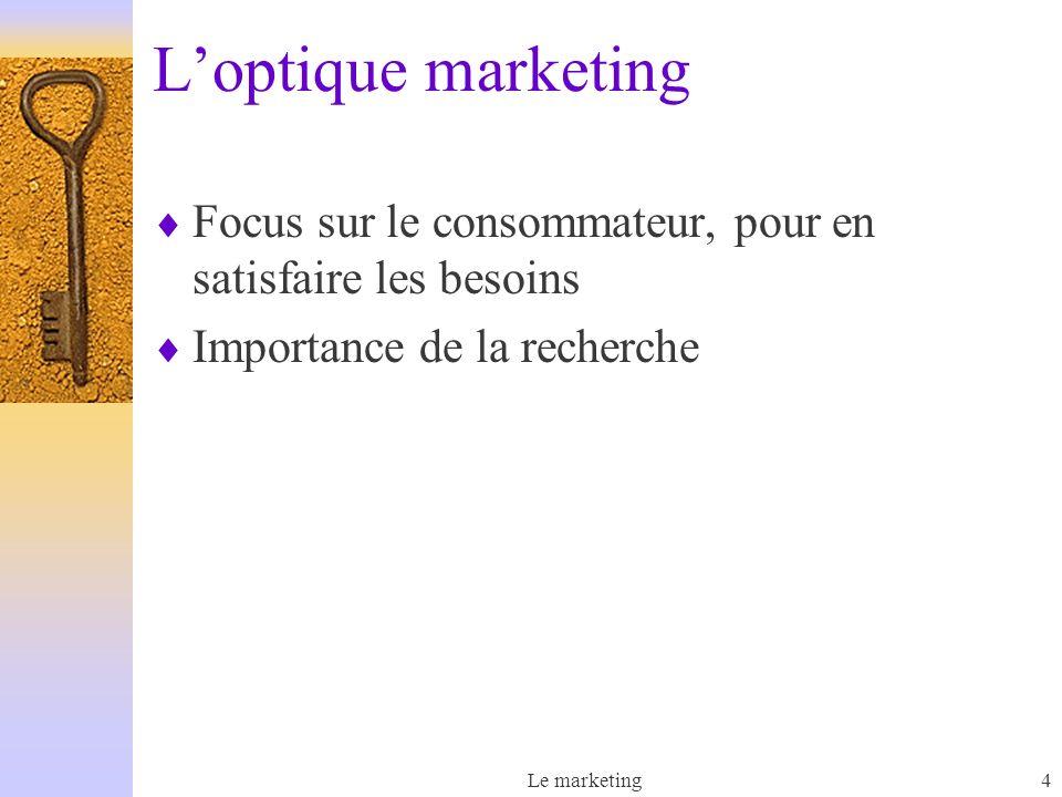 L'optique marketing Focus sur le consommateur, pour en satisfaire les besoins. Importance de la recherche.