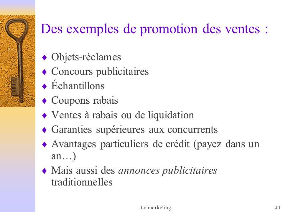 Des exemples de promotion des ventes :