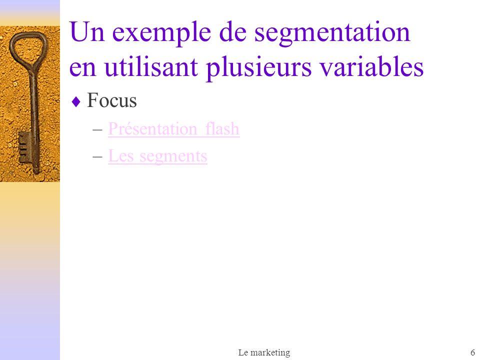 Un exemple de segmentation en utilisant plusieurs variables