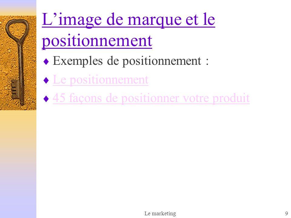L'image de marque et le positionnement