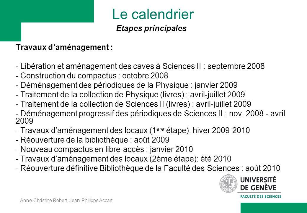 Le calendrier Etapes principales Travaux d'aménagement :