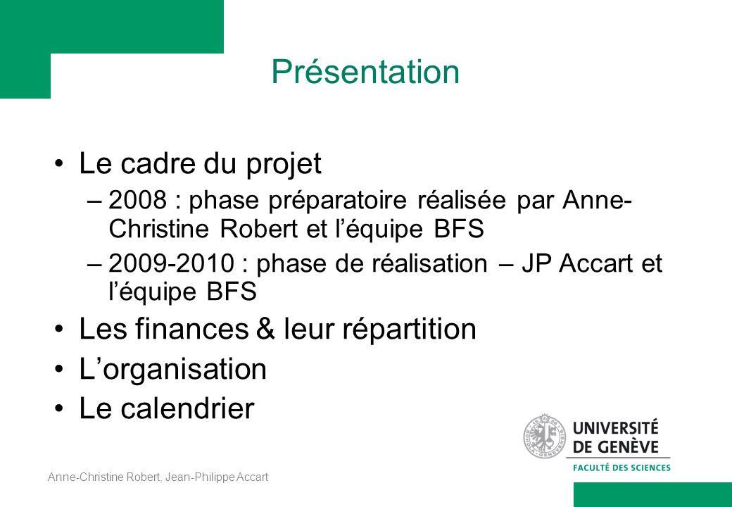 Présentation Le cadre du projet Les finances & leur répartition