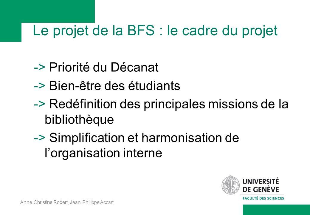 Le projet de la BFS : le cadre du projet