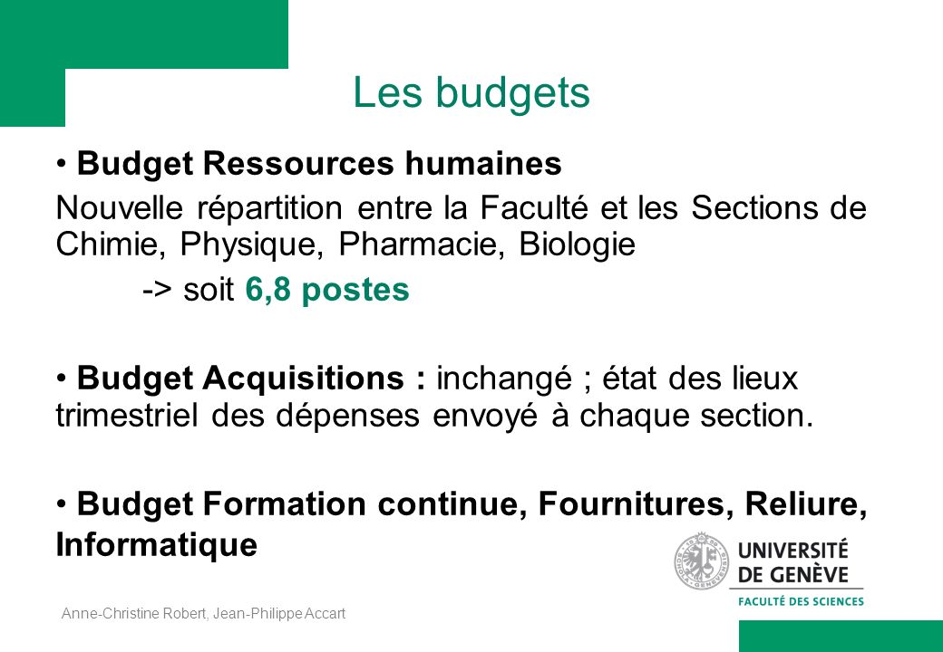 Les budgets Budget Ressources humaines