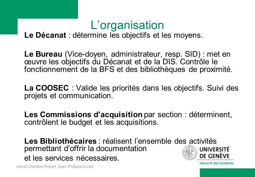 L'organisation Le Décanat : détermine les objectifs et les moyens.