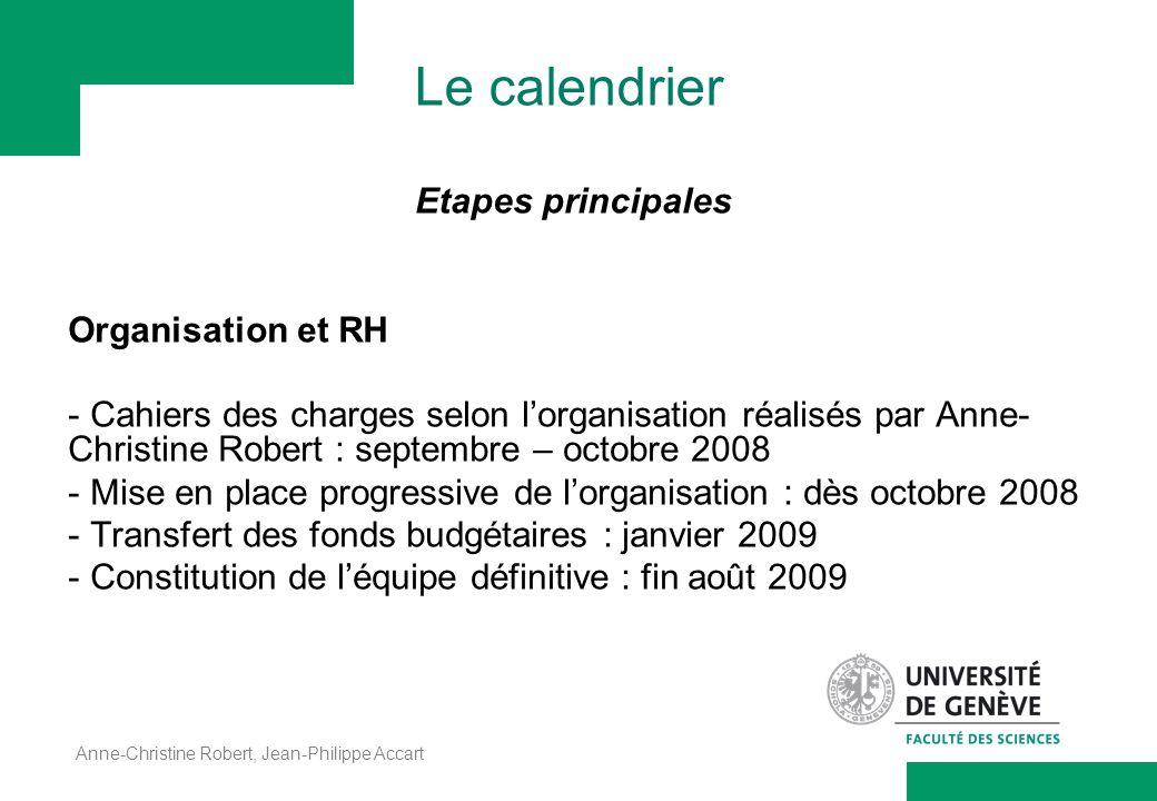 Le calendrier Etapes principales Organisation et RH