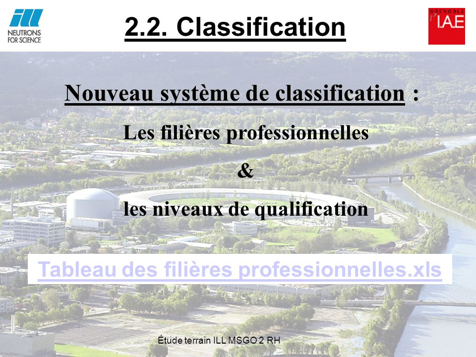 2.2. Classification Nouveau système de classification :
