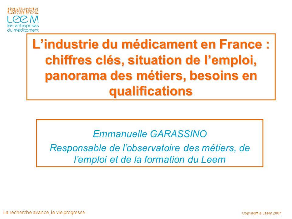 L'industrie du médicament en France : chiffres clés, situation de l'emploi, panorama des métiers, besoins en qualifications