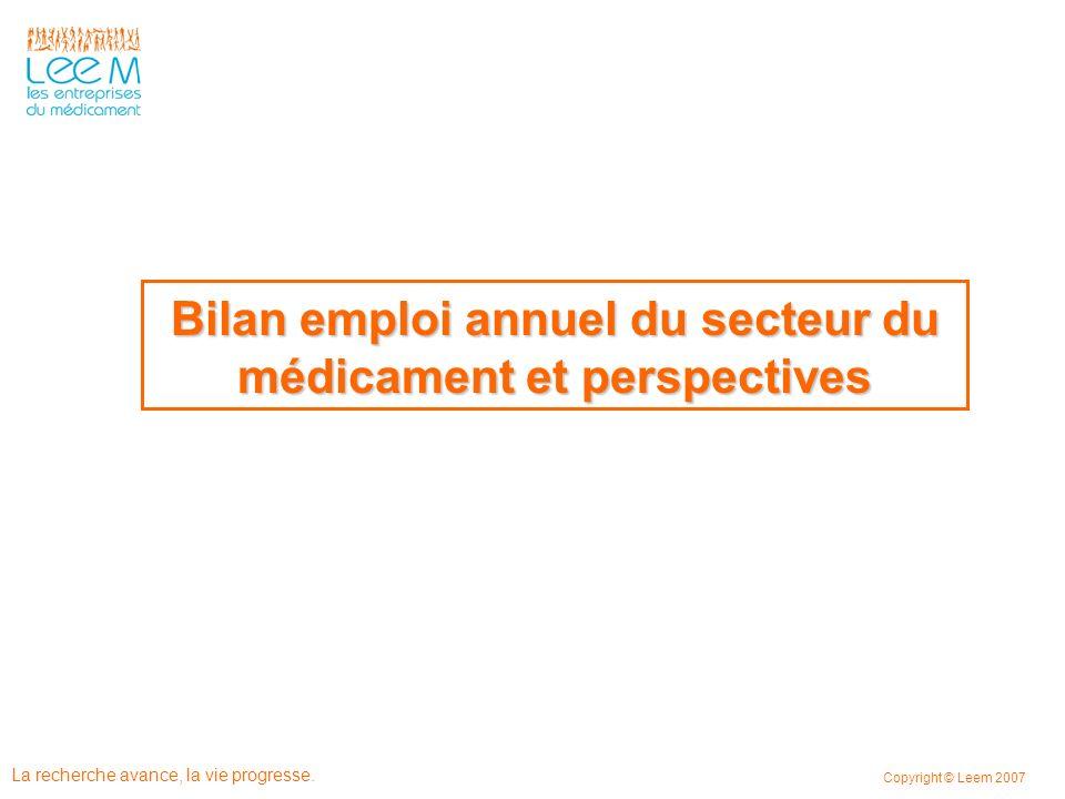 Bilan emploi annuel du secteur du médicament et perspectives