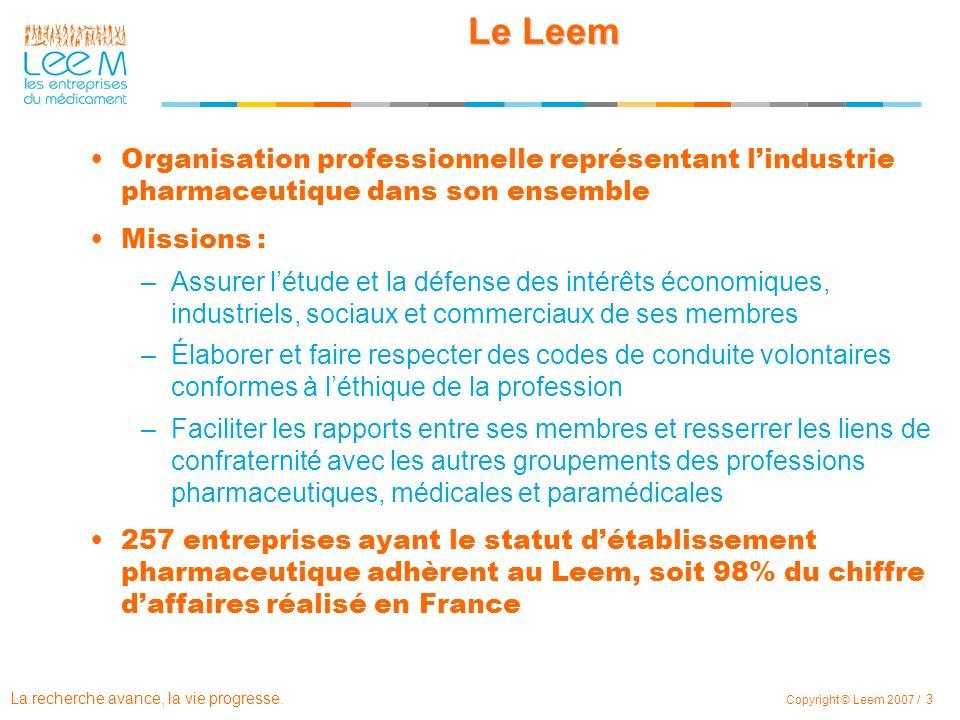 Le Leem Organisation professionnelle représentant l'industrie pharmaceutique dans son ensemble. Missions :