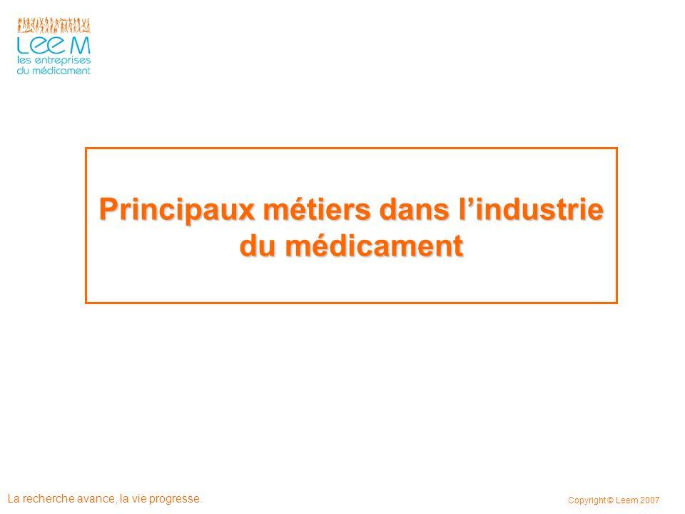 Principaux métiers dans l'industrie du médicament