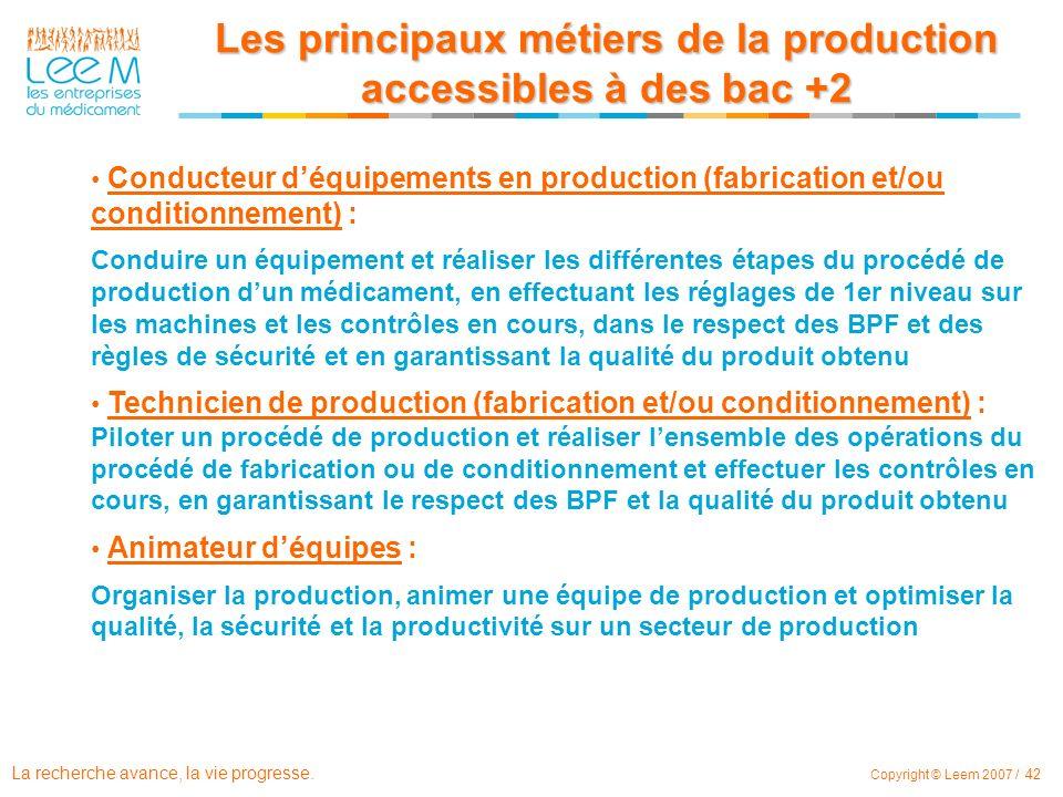 Les principaux métiers de la production accessibles à des bac +2