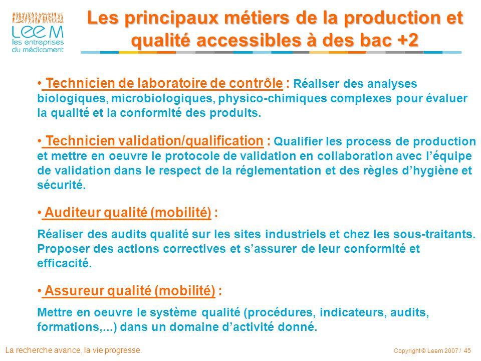 Les principaux métiers de la production et qualité accessibles à des bac +2
