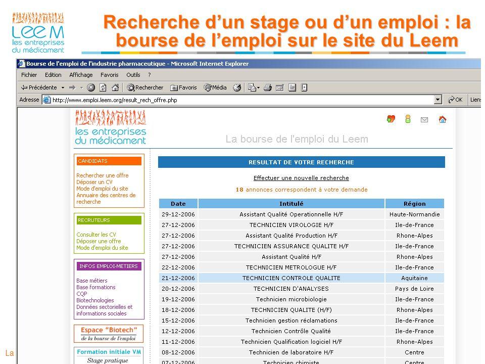 Recherche d'un stage ou d'un emploi : la bourse de l'emploi sur le site du Leem
