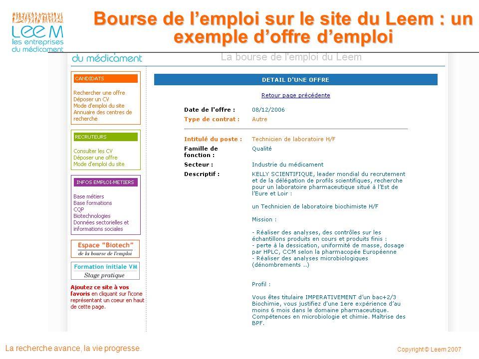 Bourse de l'emploi sur le site du Leem : un exemple d'offre d'emploi