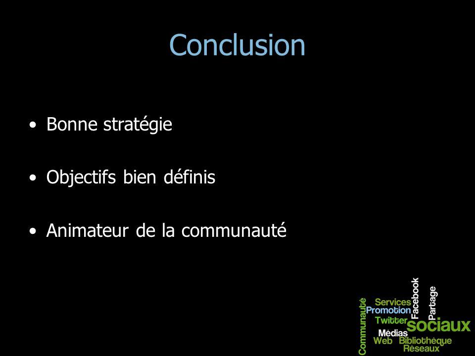 Conclusion Bonne stratégie Objectifs bien définis