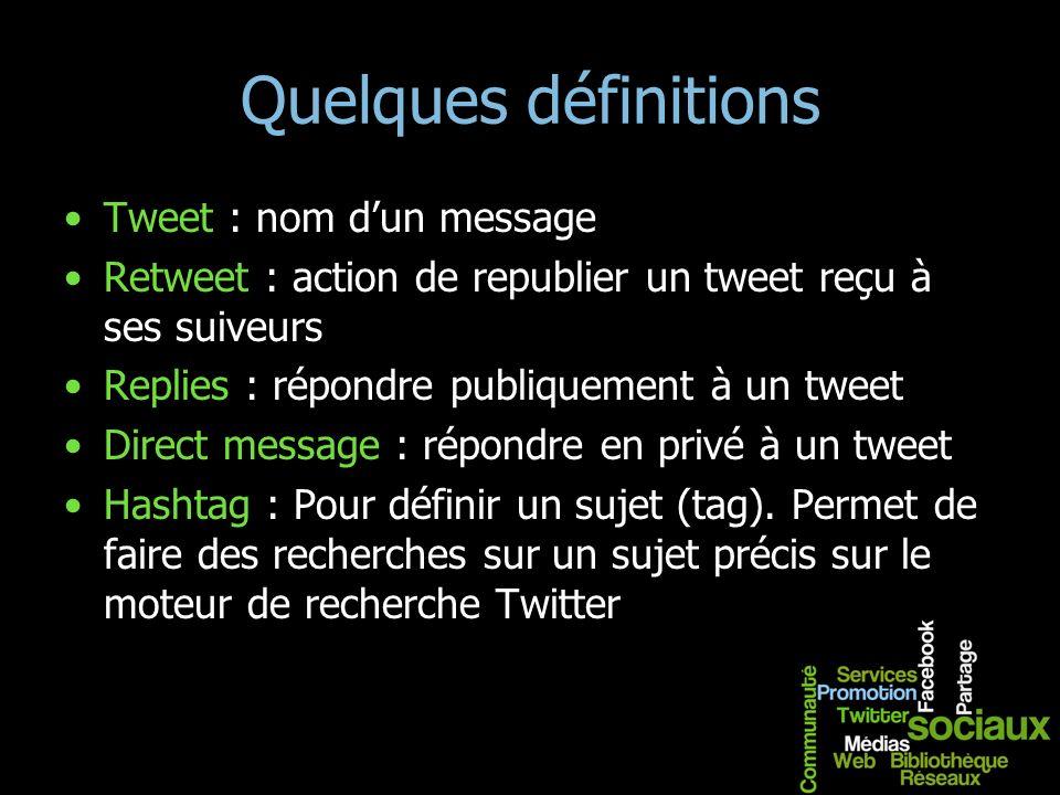 Quelques définitions Tweet : nom d'un message